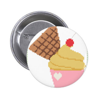 cupcake with a cherry on top pinback button