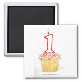 Cupcake with a numbered birthday candle 10 2 inch square magnet