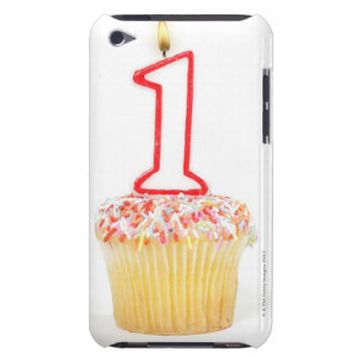 Cupcake with a numbered birthday candle 10 iPod touch cover