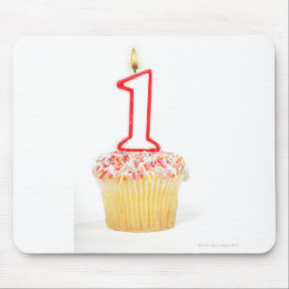 Cupcake with a numbered birthday candle 10 mouse pad