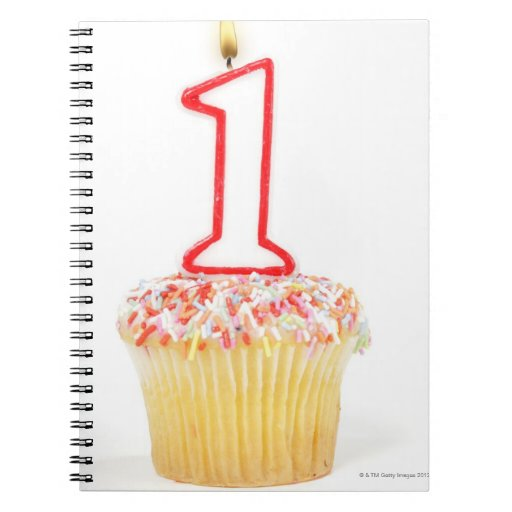 Cupcake with a numbered birthday candle 10 notebook