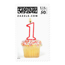 Cupcake with a numbered birthday candle 10 postage