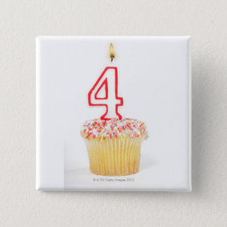 Cupcake with a numbered birthday candle 2 button
