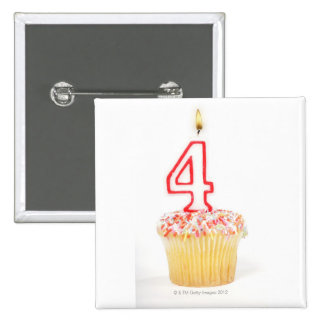 Cupcake with a numbered birthday candle 2 2 inch square button