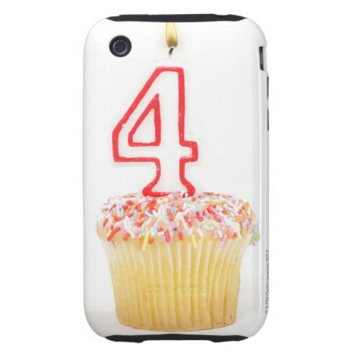 Cupcake with a numbered birthday candle 2 iPhone 3 tough cover