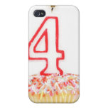 Cupcake with a numbered birthday candle 2 cases for iPhone 4