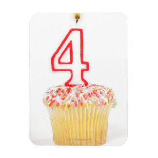 Cupcake with a numbered birthday candle 2 magnet