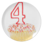 Cupcake with a numbered birthday candle 2 plate