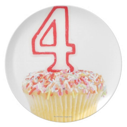 Cupcake with a numbered birthday candle 2 party plate