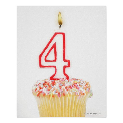 Cupcake with a numbered birthday candle 2 poster
