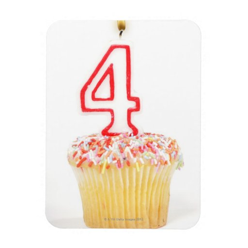 Cupcake with a numbered birthday candle 2 rectangular photo magnet