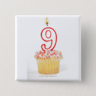 Cupcake with a numbered birthday candle 3 pinback button