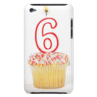 Cupcake with a numbered birthday candle 4 barely there iPod cases