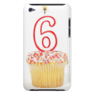 Cupcake with a numbered birthday candle 4 iPod touch case