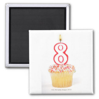 Cupcake with a numbered birthday candle 5 magnet