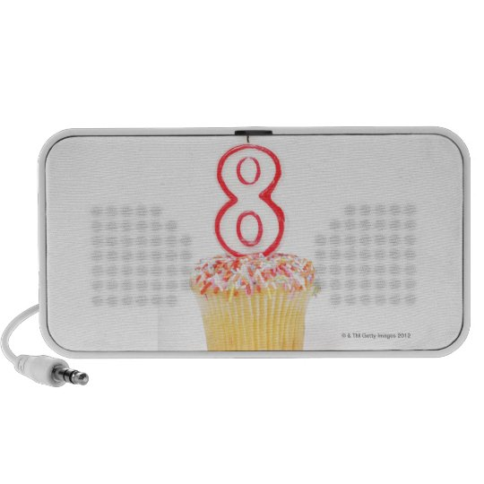 Cupcake with a numbered birthday candle 5 mini speaker