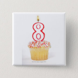 Cupcake with a numbered birthday candle 5 pinback button