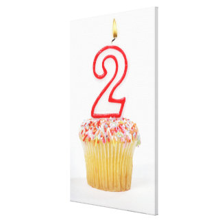 Cupcake with a numbered birthday candle 6 canvas print