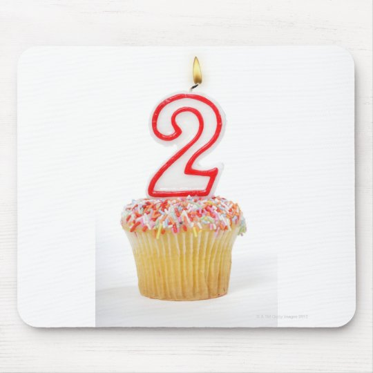 Cupcake with a numbered birthday candle 6 mouse pad
