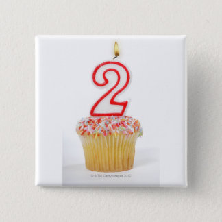 Cupcake with a numbered birthday candle 6 pinback button