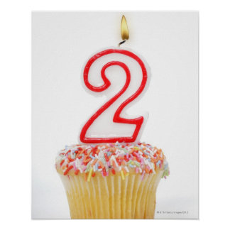Cupcake with a numbered birthday candle 6 poster
