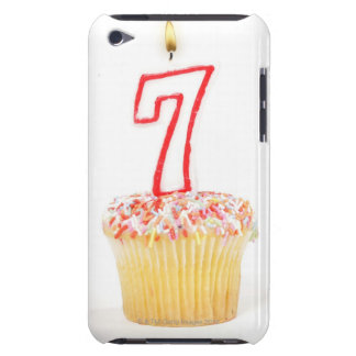 Cupcake with a numbered birthday candle 7 iPod touch case
