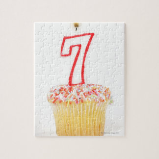 Cupcake with a numbered birthday candle 7 jigsaw puzzle
