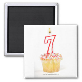 Cupcake with a numbered birthday candle 7 magnet