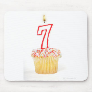 Cupcake with a numbered birthday candle 7 mouse pad