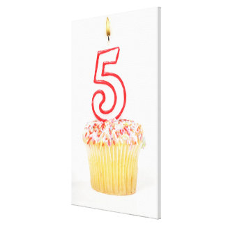Cupcake with a numbered birthday candle 8 canvas print