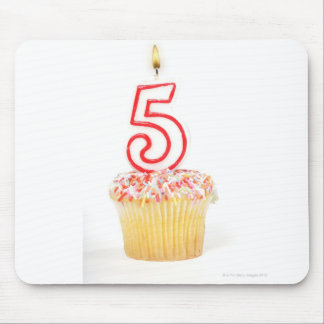 Cupcake with a numbered birthday candle 8 mouse pad