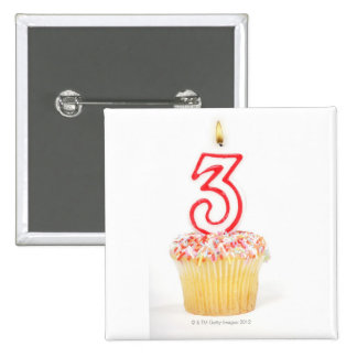 Cupcake with a numbered birthday candle 9 buttons