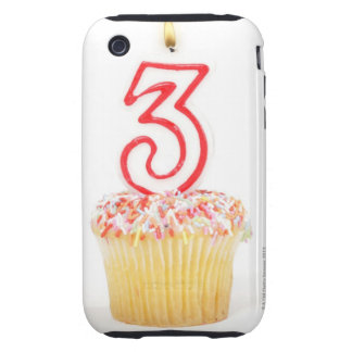 Cupcake with a numbered birthday candle 9 tough iPhone 3 covers