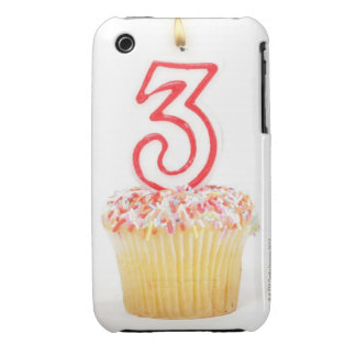 Cupcake with a numbered birthday candle 9 iPhone 3 Case-Mate cases
