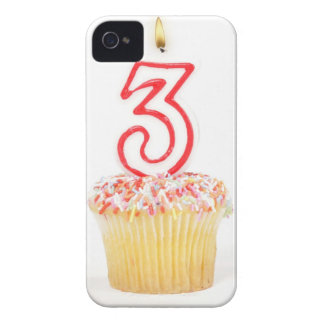 Cupcake with a numbered birthday candle 9 iPhone 4 covers