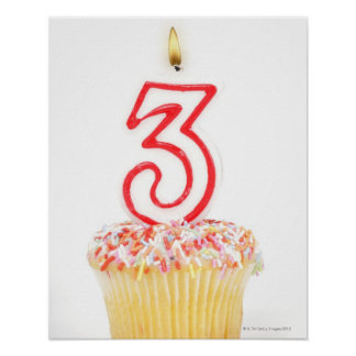 Cupcake with a numbered birthday candle 9 poster