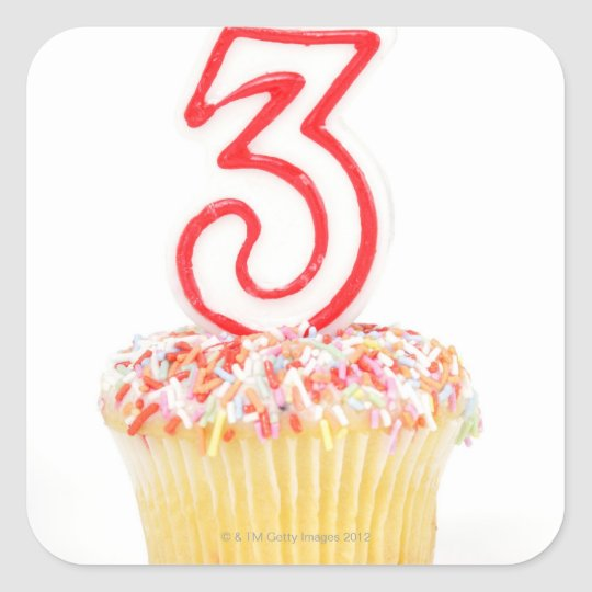 Cupcake with a numbered birthday candle 9 square sticker