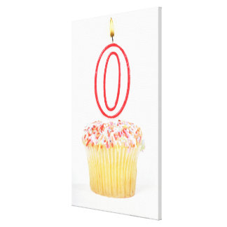Cupcake with a numbered birthday candle canvas print