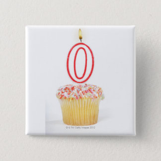 Cupcake with a numbered birthday candle pinback button