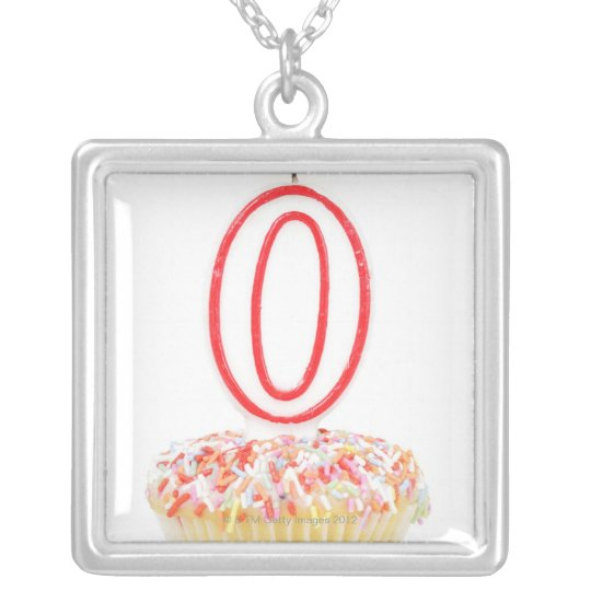 Cupcake with a numbered birthday candle silver plated necklace