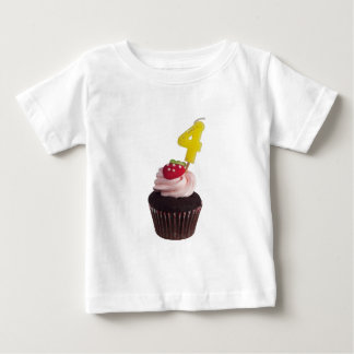 Cupcake with birthday candle for four year old baby T-Shirt