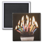 Cupcake with birthday candles 2 inch square magnet