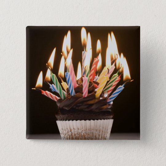 Cupcake with birthday candles button