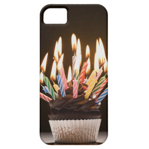 Cupcake with birthday candles iPhone 5 cases