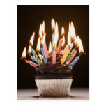 Cupcake with birthday candles post cards
