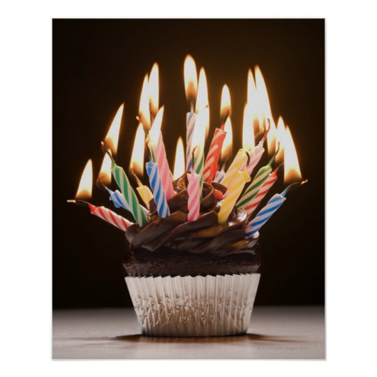 Cupcake with birthday candles poster