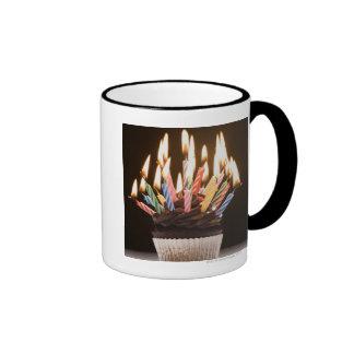 Cupcake with birthday candles ringer mug