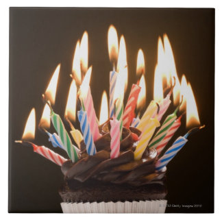 Cupcake with birthday candles tile