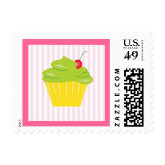 Cupcake with Bright Green Frosting Postage