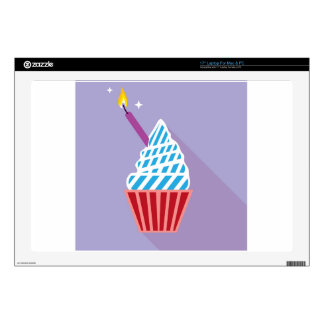 """Cupcake with candle on the side 17"""" laptop decal"""